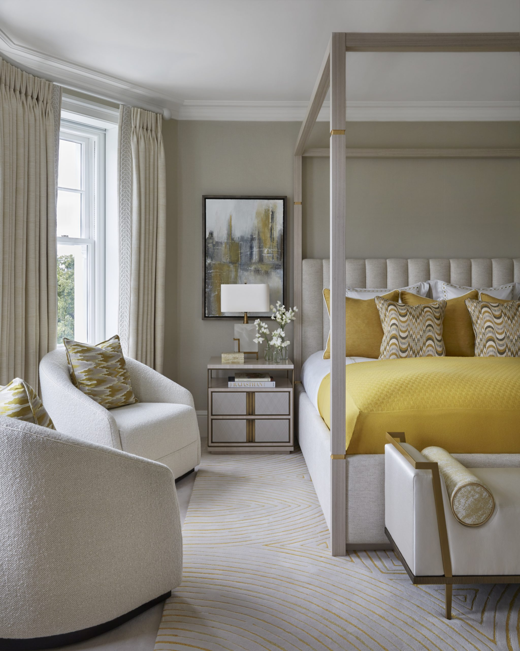 Beautiful use of yellow in this master room designed by top interior designer Katharine Pooley